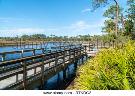 Dock at Faver-Dykes State Park near St Augustine, Florida USA - Stock Photo