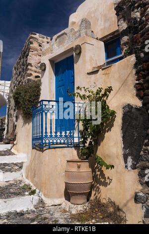 Traditional Greek architectural style building in Pyrgos village, Santorini, Greece - Stock Photo
