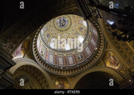 Ceiling and cupola inside Saint Stephen's Basilica, Budapest, Hungary, Eastern Europe - Stock Photo