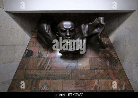 The statue of Vladimir Lenin placed inside  Plosca Lienina (Lenin Square) Metro station in Independence Square in the city of Minsk, capital of Belarus - Stock Photo
