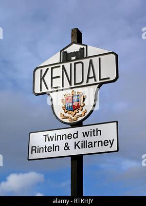 Kendal town boundary marker sign. Natland Road, Kendal, Cumbria, England, United Kingdom, Europe. - Stock Photo