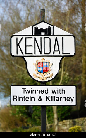 Kendal town boundary marker sign. Natland Road, Kendal, Cumbria, England, United Kingdom, Europe. - Stock Photo