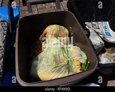 Picture to illustrate uncollected rubbish. Blue bag is for plastic recycling , brown bin is for food waste, bag behind is for carboard - Stock Photo