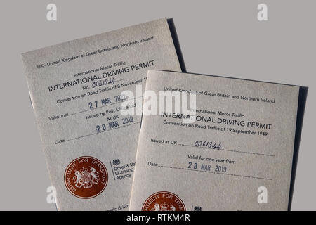 International Driving Permit - Showing the 1968 and 1949 versions of the IDP which allow you to drive in certain countries in Europe use - Stock Photo