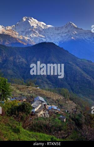 Ghandruk Village in the Annapurna region of Nepal - Stock Photo