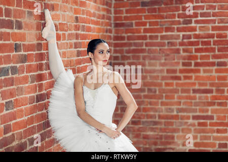 awesome slender ballerina in pointes doing near the loft wall. close up photo. copy space - Stock Photo