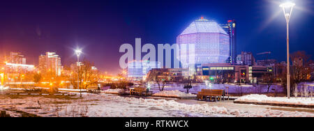 March 24, 2018 Minsk Belarus: Earth Hour - National Library building before turning off the backlight - Stock Photo