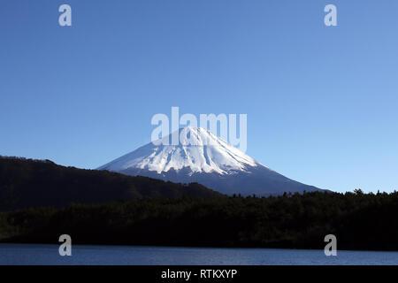 Kawaguchi-ko, Tokyo - March 09 2017: Mount Fuji view from the Kawaguchi lake in Tokyo, Japan Stock Photo