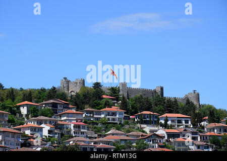 Ohrid town and Tsar Samuel fortress, Macedonia - Stock Photo