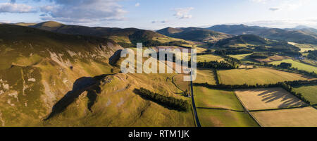 A panoramic image showing Tinnis Castle an Iron Age Hill Fort in the Upper Tweed Valley in the Borders Region of Southern Scotland. - Stock Photo