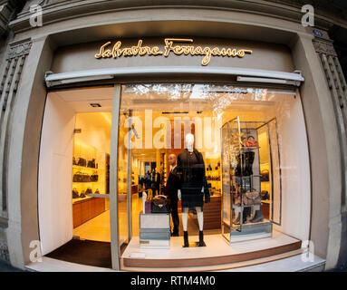BARCELONA, SPAIN - NOV 13, 2017: Salvatore Ferragamo luxury fashion clothes store on Avenue Diagonal taken with wide lens  - Stock Photo