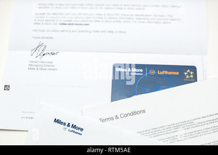 FRANKFURT, GERMANY - JAN 14, 2015: Miles and More traveler card received by post from German Lufthansa airlines - Stock Photo