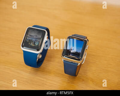 PARIS, FRANCE - SEP 22, 2017: New Apple Watch Series 3 goes on sale in Apple Store with  - Stock Photo