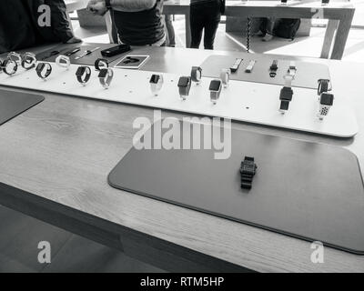 PARIS, FRANCE - SEP 22, 2017: New Apple Watch Series 3 goes on sale in Apple Store with presentation to customers of the plethora of watches and straps  - Stock Photo