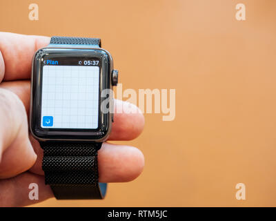 PARIS, FRANCE - SEP 22, 2017: New Apple Watch Series 3 goes on sale in Apple Store with Maps app running searching location - Stock Photo