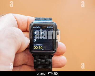 PARIS, FRANCE - SEP 22, 2017: New Apple Watch Series 3 goes on sale in Apple Store with total distance in kilometers  - Stock Photo