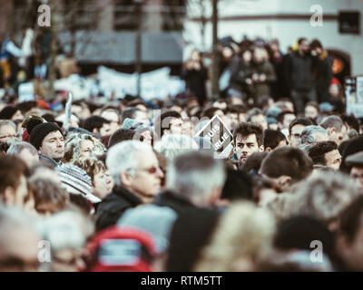 STRASBOURG, FRANCE - NOV 1 2015: Large crowd of people protesting after Paris terrorist attack on Charlie Hebdo in January 2015 - Stock Photo