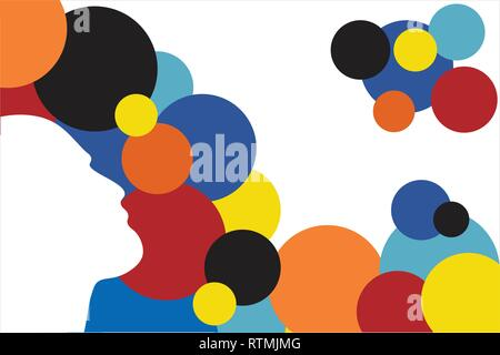 Human silhouette with colored circles - vector illustration - editable layered illustration - Stock Photo