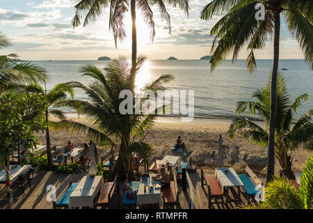 Koh Chang, Thailand - December 15, 2018: Sunset view outdoor cafe on Koh Chang island, Thailand - Stock Photo