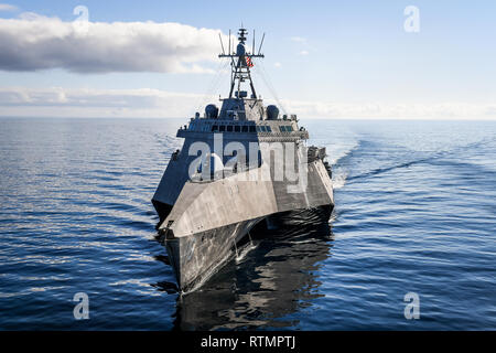 U.S. Navy Independence variant littoral combat ships USS Tulsa during exercises in the eastern Pacific Ocean February 27, 2019 off the coast of California. - Stock Photo