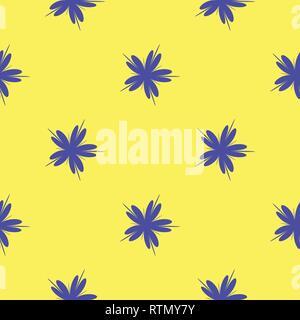 Seamless nursery pattern with blue flowers like geometric stars on a yellow background. - Stock Photo