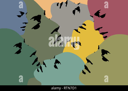Human heads silhouette - Printable illustration - Stock Photo