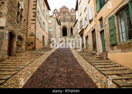 The path leading to the entrance of Le Puy Cathedral in France - Stock Photo