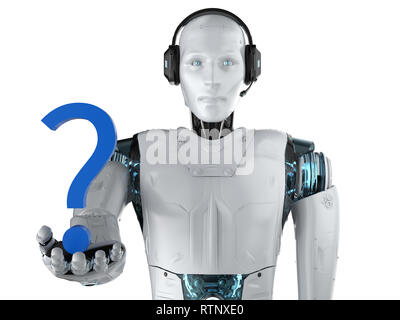 Automation helpline concept with 3d rendering humanoid robot with question mark - Stock Photo