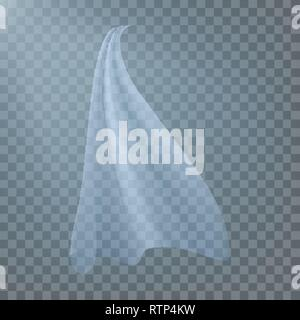 Fluttering White Cloth Vector. Viel Silk. Fabric Curtain. Clear Drape. Realistic Clear Material Illustration - Stock Photo