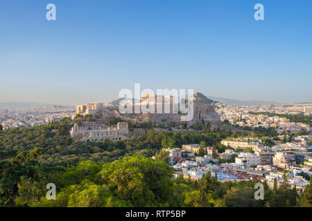 Acropolis with Parthenon and the Herodion theatre. View from the hill of Philopappou, Athens, Greece. - Stock Photo