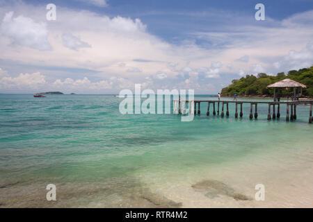 Bridge in emerald sea at Sames Island,Thailand - Stock Photo