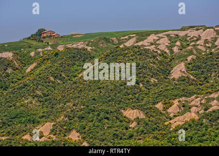 Crete Senesi, Tuscany/Italy - May 10 2016: Crete Senesi hilly landscape with Biancane, dome-shaped formations, near Siena. - Stock Photo