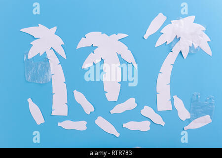 Pollutions and garbages on the beach. paper cut - Stock Photo