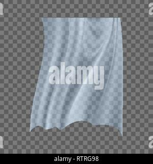Fluttering White Cloth Vector. Curved Icon. Twisted Effect. Wavy Element. Realistic Clear Material Illustration - Stock Photo