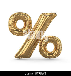 Golden percent sign made of inflatable balloon isolated on white background. 3D rendering - Stock Photo