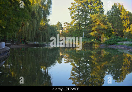 Lake in park with different trees all around - Stock Photo