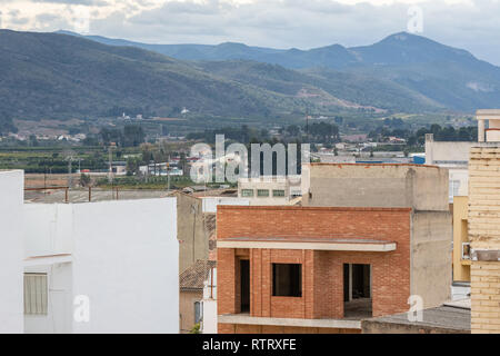 Under construction residental building in small town in Spain, Canals. - Stock Photo