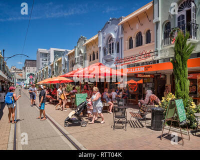 3 January 2019: Christchurch, New Zealand - New Regent Street in the centre of Christchurch, with outdoor cafes and speciality shops, and the tram rou - Stock Photo