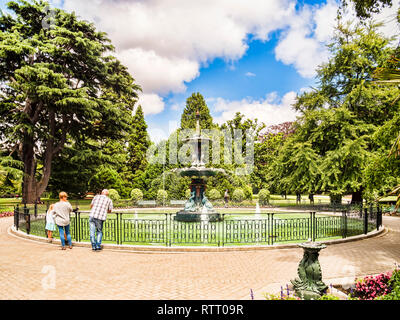 8 January 2019: Christchurch, New Zealand - The Peacock Fountain in Christchurch Botanic Gardens. - Stock Photo