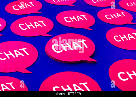 Chat,speech bubble icons on blue color background.Talking and  message for social media concepts ideas - Stock Photo