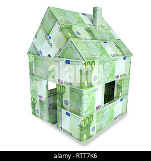 House made of 100 Euro bills and banking - Stock Photo