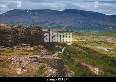 Mountains Tingvallir Iceland where the worlds first parliament settled. Captured at summer season - Stock Photo