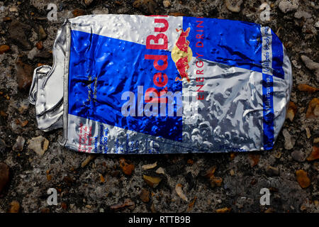 flattened, RedBull, Red,Bull, can, on,the,road, tin, drink, energy, caffine, sugar, blue, silver, - Stock Photo