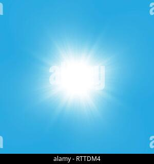 Glow light effect. Starburst with sparkles on blue background. Vector illustration. Sun - Stock Photo