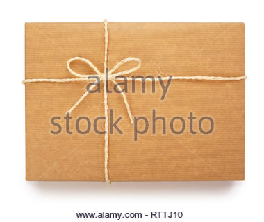 Top view of a wrapped parcel in brown paper, tied with rope and knot. Isolated on white background. Contains clipping path. - Stock Photo