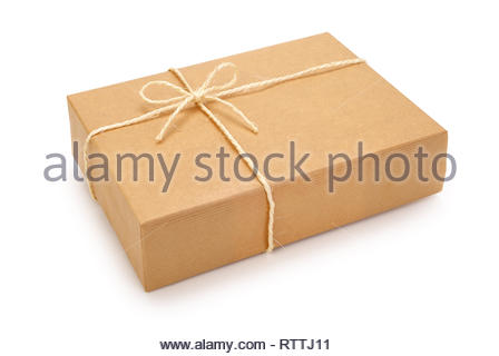 Parcel wrapped in brown paper, tied with rope and knot. Isolated on white background. Contains clipping path. - Stock Photo