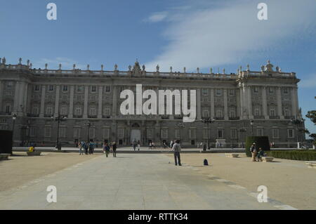 East Facade and Weapons Square of the Royal Palace Dated in the Fourteenth Century Baroque Style In Madrid. Architecture, History, Travel. October 18, - Stock Photo