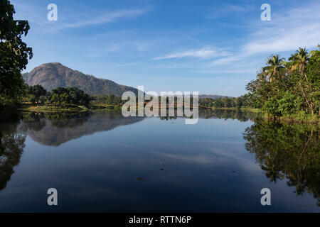 Reflections in the Periyar River.  Thattekad, Kerala, India - Stock Photo