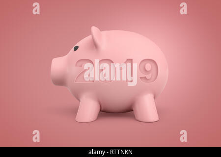 3d rendering of pink piggy bank with a 2019 sign on pink background - Stock Photo