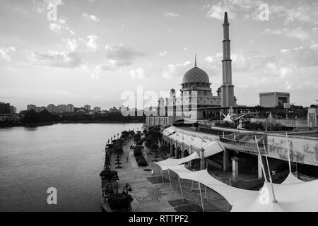 View of the Putra Mosque in the cloudy day. Black and White Landscape Orientation - Stock Photo